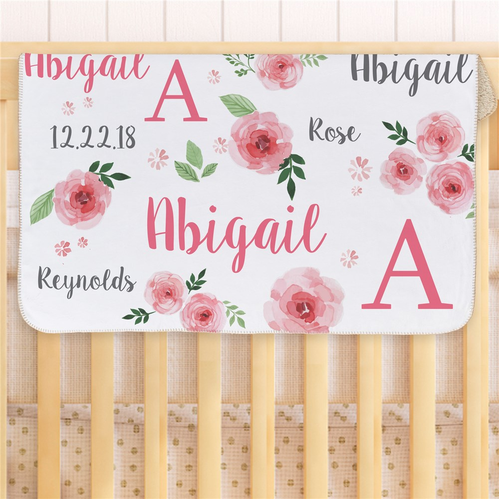 Personalized Pink Floral Baby Sherpa Blanket | Personalized Baby Blanket