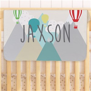 Personalized Hot Air Balloon Baby Sherpa Blanket | Personalized Baby Blanket