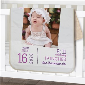 Personalized Photo Birthday Baby Sherpa Blanket | Photo Baby Blanket