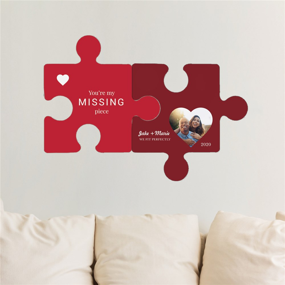 Personalized You're My Missing Piece Wall Decor Puzzle Set | Personalized Valentine Hanging Decorations