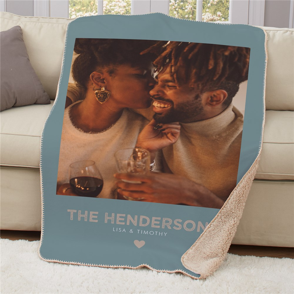 Personalized Couples Photo Sherpa Blanket | Valentines Photo Blanket