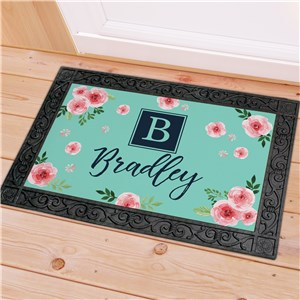 Personalized Spring Roses Doormat | Easter Personalized Door Mats