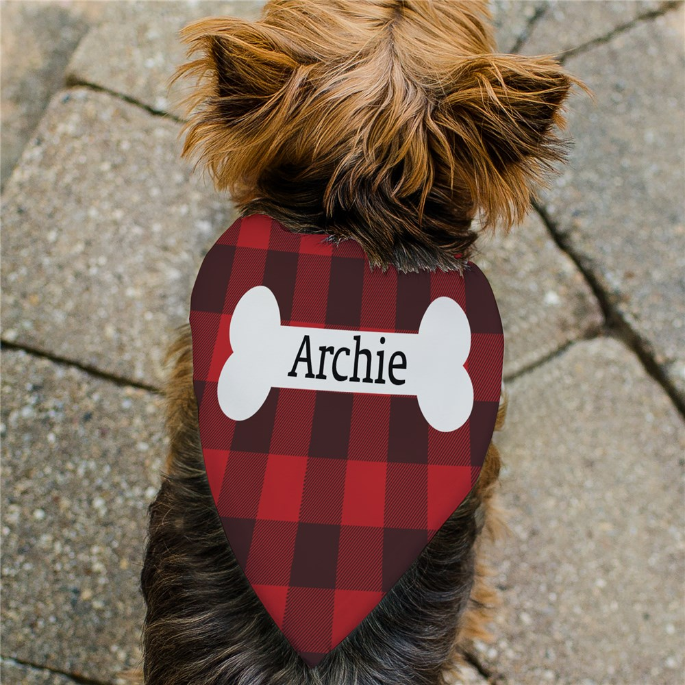 Personalized Plaid Dog Bone Pet Bandana | Personalized Pet Bandanas
