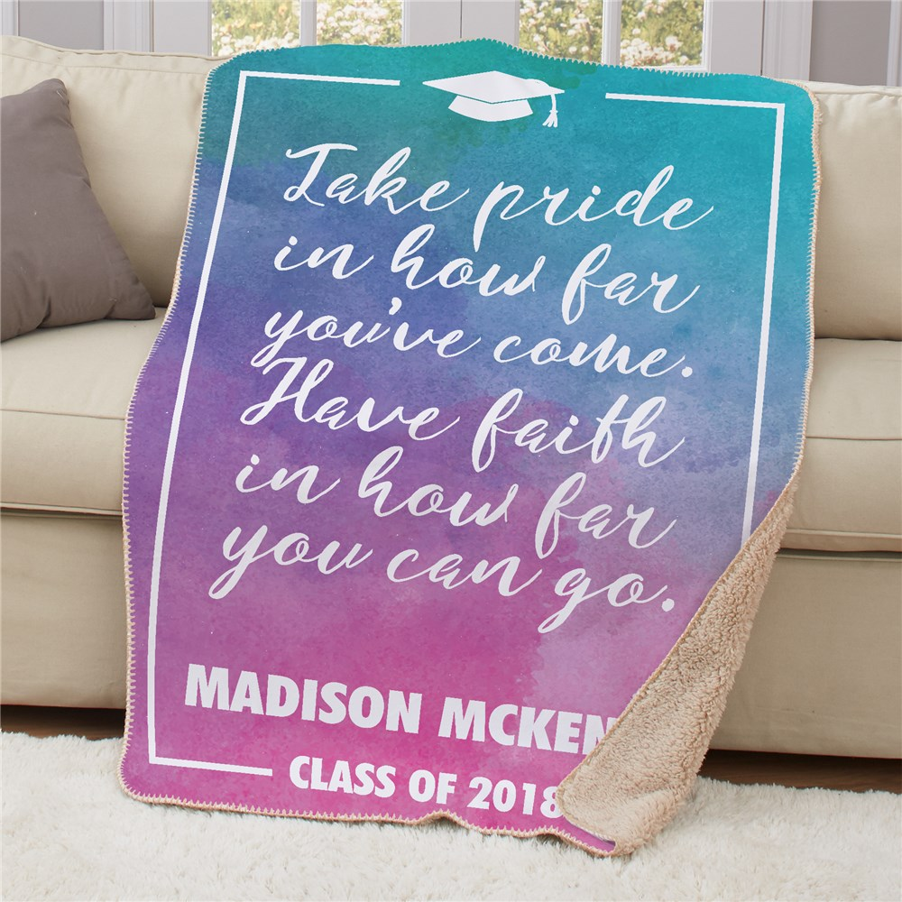 Personalized Congratulations Sherpa Throw | Personalized Graduation Gifts