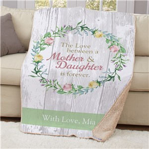 Personalized Love Between Mother and Daughter Sherpa Throw | Personalized Mother's Day Gifts