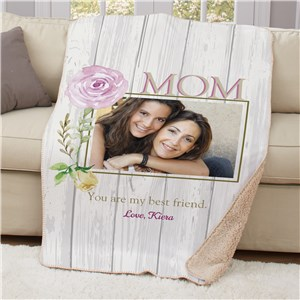 Personalized Mom Best Friend Photo Sherpa Blanket | Personalized Mother's Day Gifts