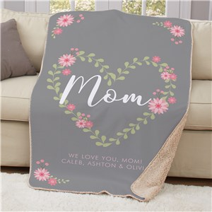 Personalized Mom Floral Heart Sherpa Throw | Personalized Blankets For Mother's Day