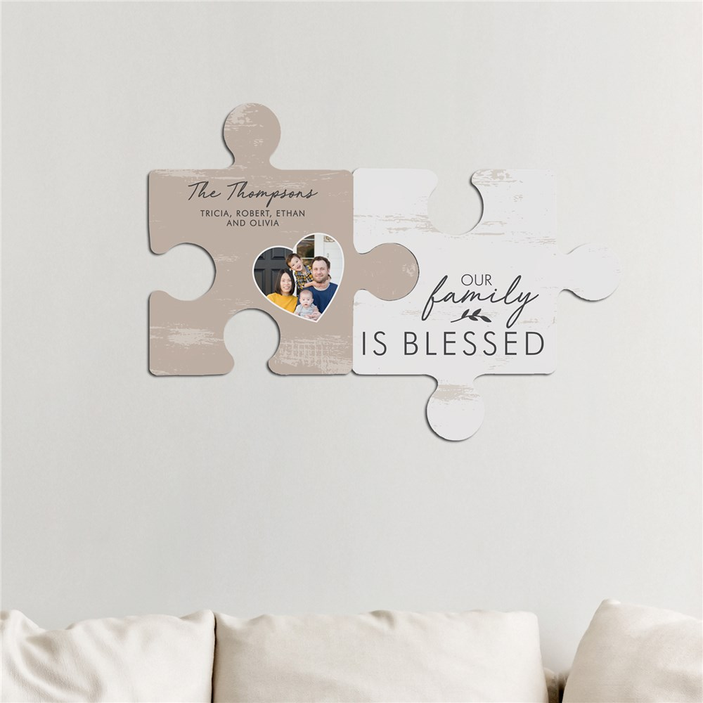 Personalized Our Family is Blessed Wall Decor Puzzle Set | Personalized Photo Wall Art