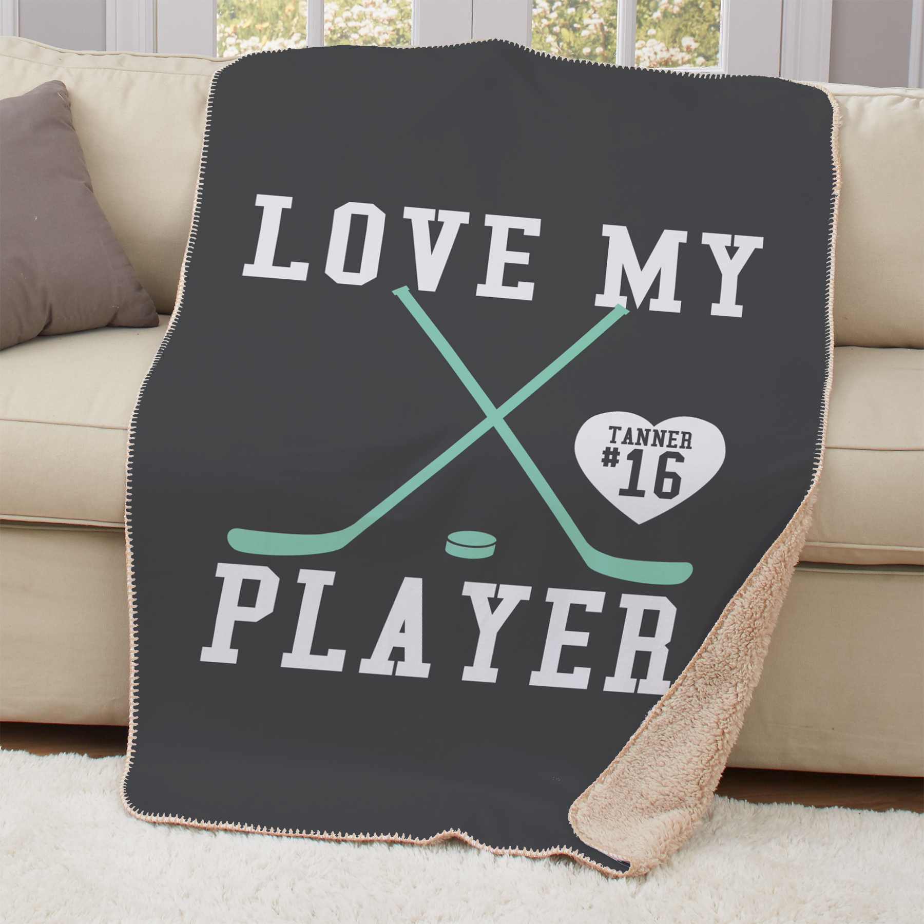 Personalized Love My Sports Player Sherpa Throw | Personalized Blankets For Sports