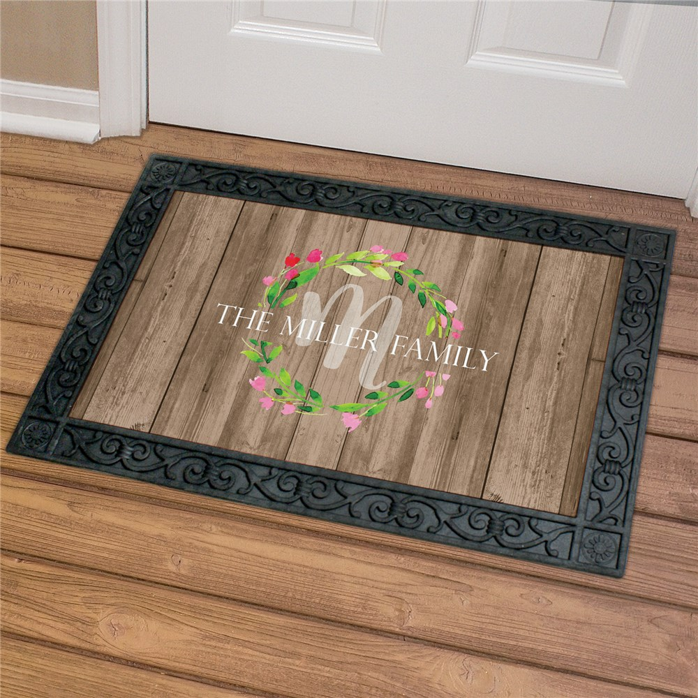 Personalized Family Wreath Doormat | Personalized Couple Gifts