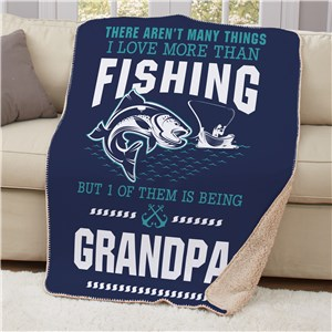 Personalized Love More Than Fishing Sherpa Blanket | Personalized Sherpa Blankets