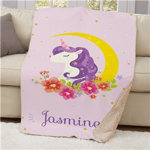 Unicorn with Moon Sherpa Blanket | Personalized Unicorn Throw Blanket
