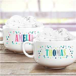 Personalized Polka Dot Ice Cream Bowl | Personalized Ice Cream Bowl