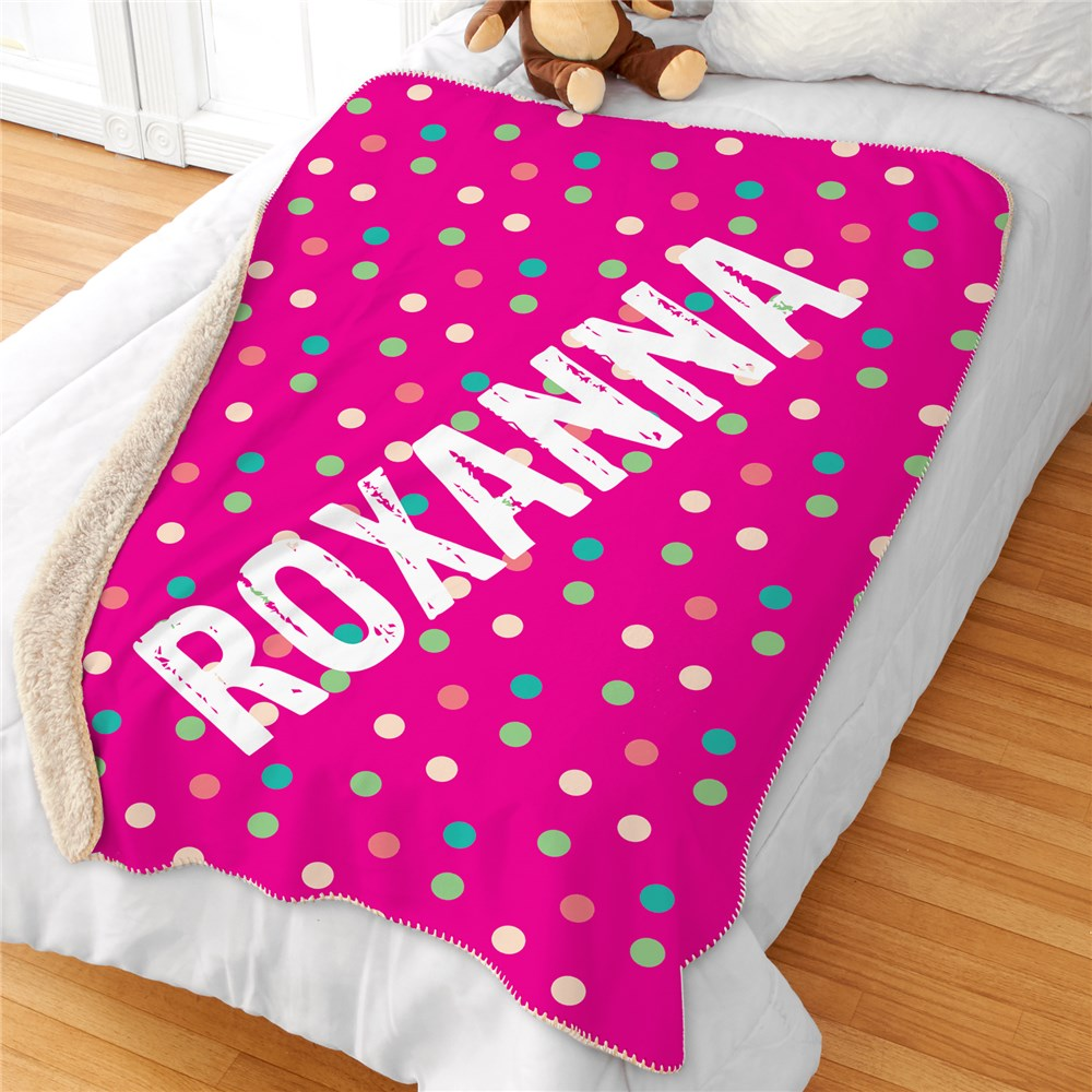 Personalized Polka Dot Sherpa Blanket | Personalized Blankets For Kids