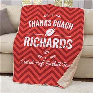 Personalized Thanks Coach Sherpa Blanket | Coach Gift Ideas