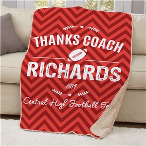 Personalized Thanks Coach Sherpa Blanket | Personalized Coach Gifts