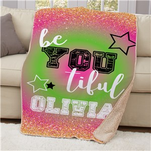 Personalized Be You Tiful 50x60 Sherpa Blanket | Personalized Blankets