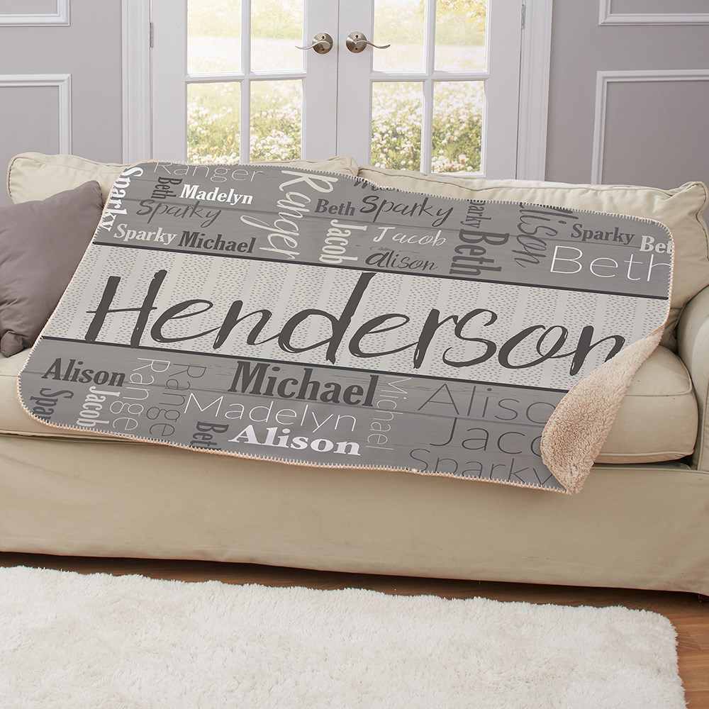 Personalized Wood Pattern 50 X 60 Word Art Sherpa | Personalized Blankets