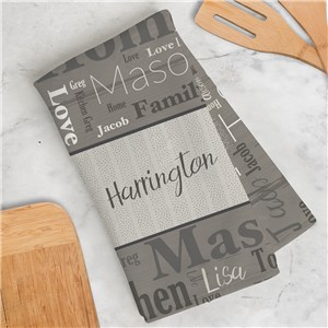 Personalized Wood Pattern Word Art Dish Towel