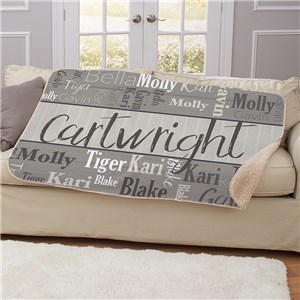 Wood Pattern Word Art 37 x 57 Sherpa | Personalized Blankets With Names