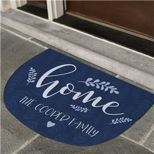 Personalized Floral Leaves Welcome Doormat | Personalized Doormat