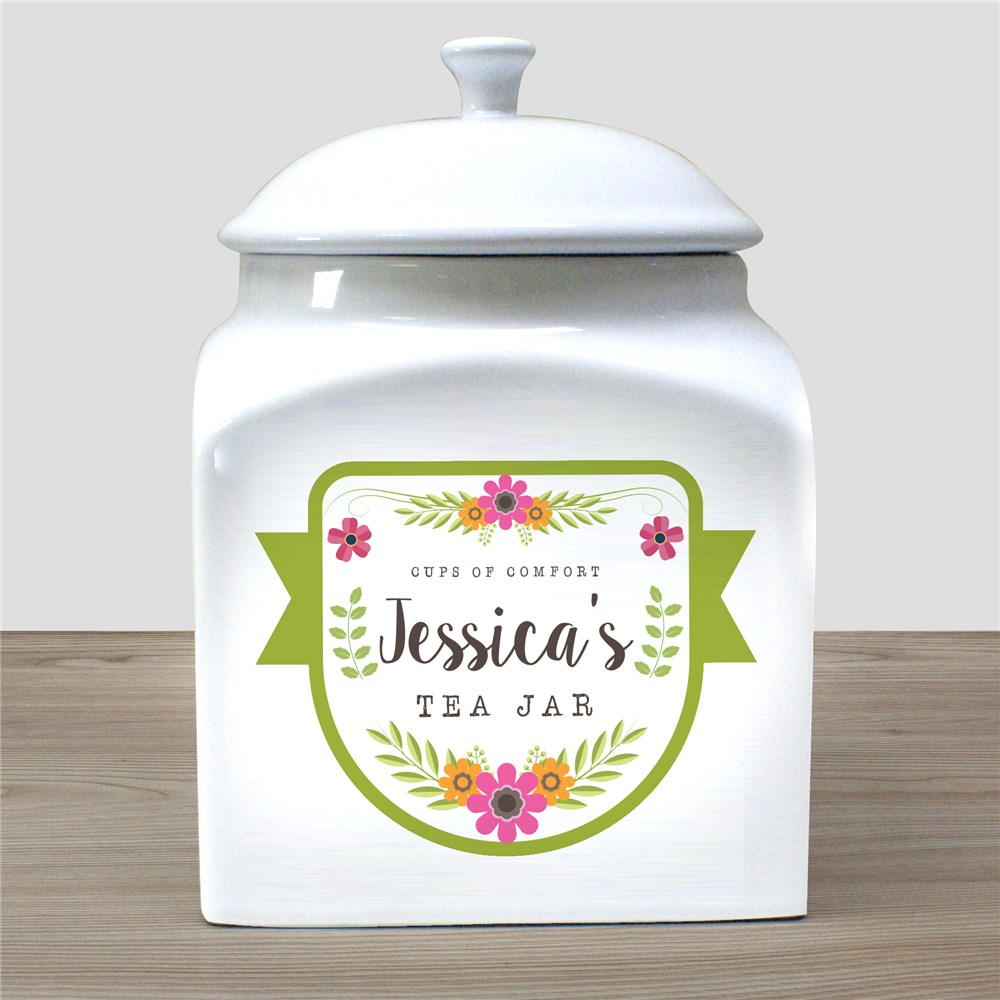 Personalized Cups Of Comfort Tea Jar | Personalized Tea Holder