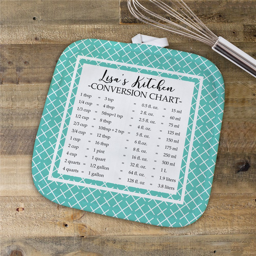 Personalized Measurement Conversion Chart Pot Holder | Personalized Pot Holders