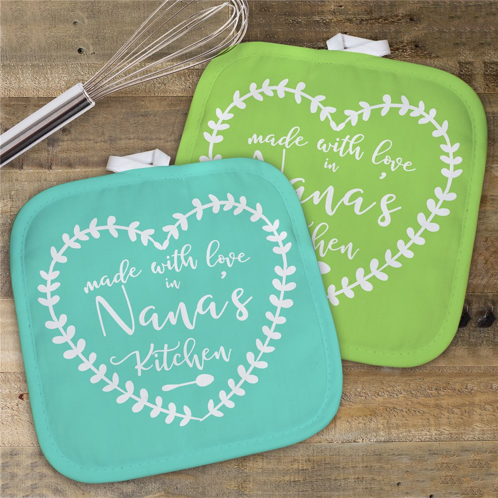 Personalized Made With Love In Nana's Kitchen Pot Holder | Personalized Pot Holders