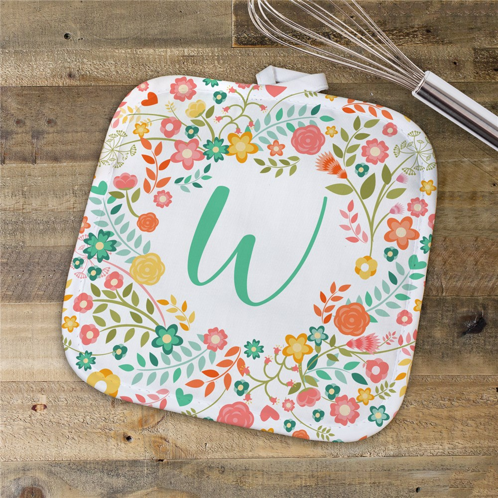 Personalized Floral Wreath Pot Holder | Personalized Baking Gifts