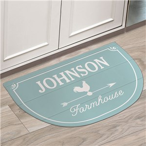 Farmhouse Personalized Rounded Kitchen Mat | Personalized Floor Mat
