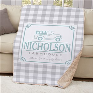 Personalized Farmhouse Sherpa Blanket | Personalized Blankets
