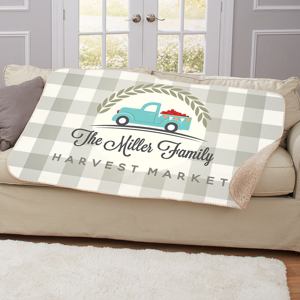 Personalized Happy Harvest Sherpa Blanket | Personalized Sherpa Blankets