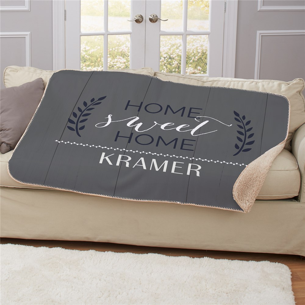 Personalized Home Sweet Home Personalized Sherpa Blanket | Personalized Blankets