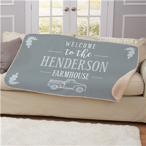Personalized Welcome To The Farmhouse Truck Sherpa Throw U1343487