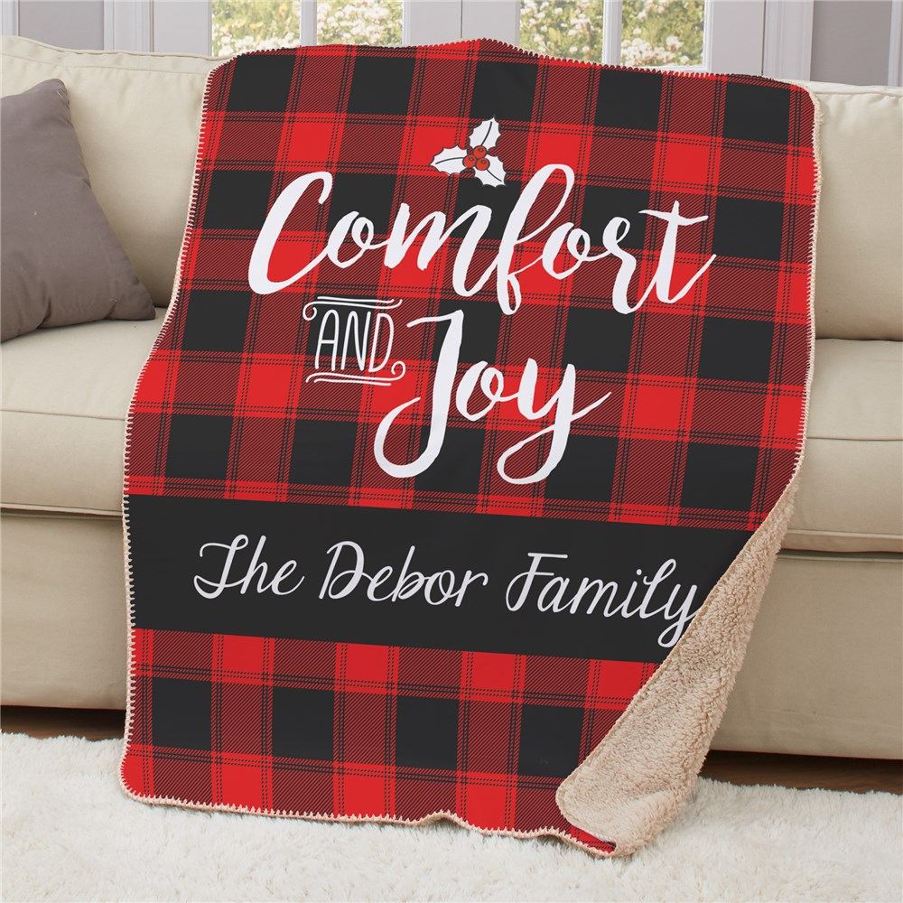 Personalized Buffalo Plaid Christmas Sherpa Throw 50x60 | Personalized Plaid Blankets