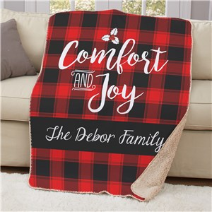 Personalized Buffalo Plaid Christmas Sherpa Throw