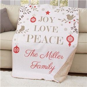 Personalized Joy Love Peace 50x60 Sherpa Throw | Christmas Blankets