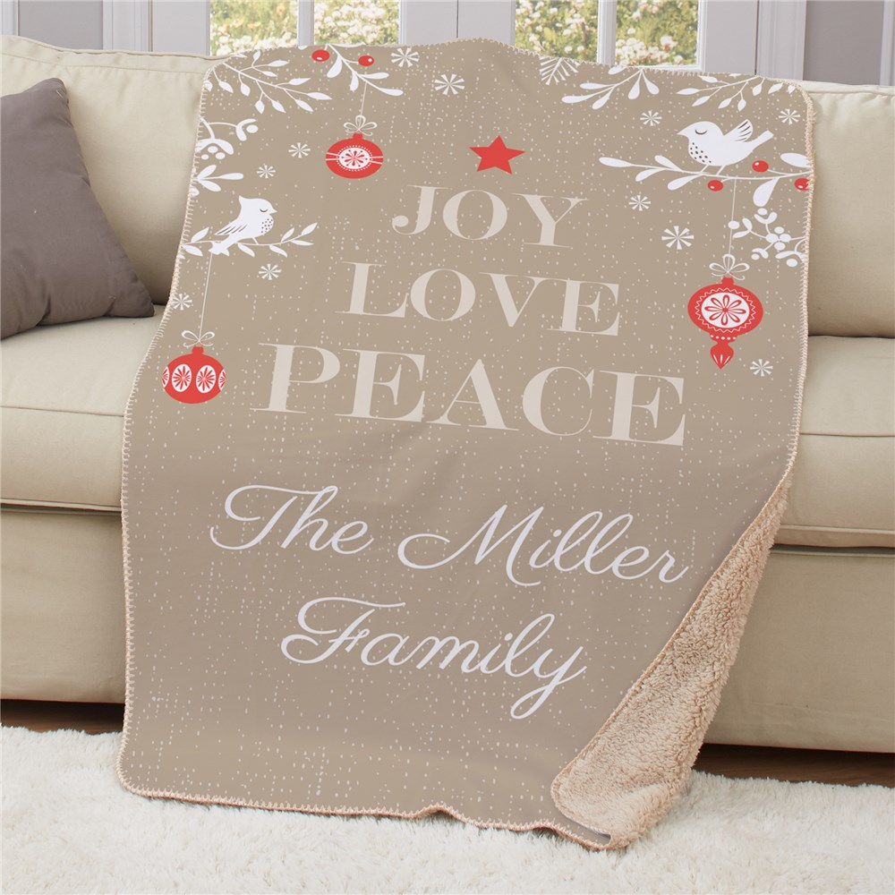 Personalized Joy Love Peace Sherpa Throw | Christmas Blankets
