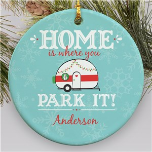 Personalized Home Is Where You Park It Ceramic Ornament | Christmas Camper Ornament