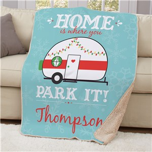 Personalized Home Is Where You Park It Sherpa Throw 50x60 | Christmas Camper Personalized Blanket