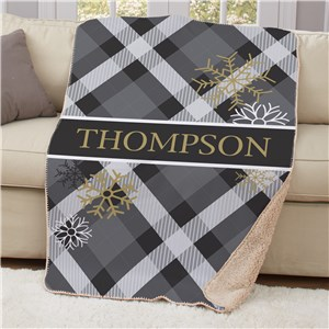 Dashing Through The Snow Sherpa Personalized Blanket | Plaid Sherpa Blanket