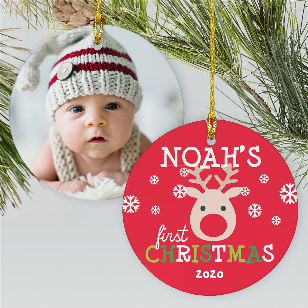 Reindeer Baby's First Ornament | Photo Ornament For Baby
