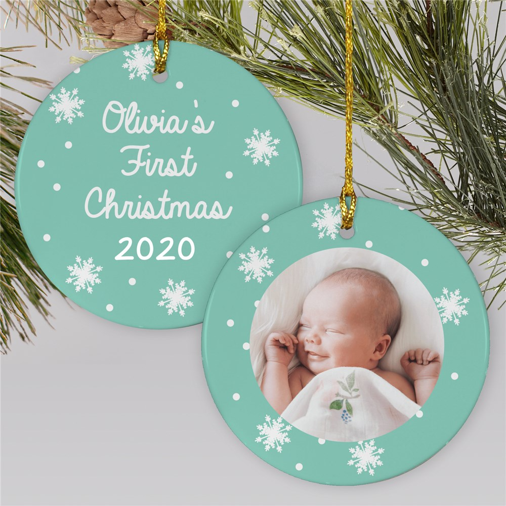 Baby's First Photo Ornament | Mint Colored Baby Ornaments