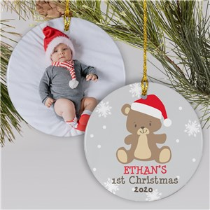 Baby Photo Ornament With Name | Baby's First Christmas Ornament With Photo