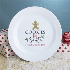 Cookies For Santa Ceramic White Personalized Plate | Cookies For Santa Plate