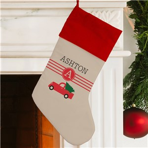 Personalized Red Christmas Truck Stocking | Personalized Christmas Stockings