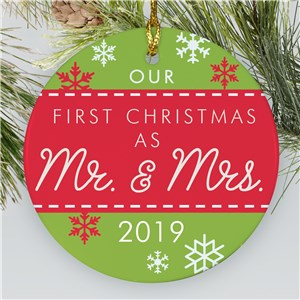 First Christmas as Mr and Mrs Ornament | Newlyweds Ornament with Snowflakes