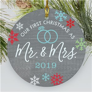 Newlywed Ornament With Year | Personalized Mr And Mrs Ornament