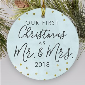 Blue First Christmas as Mr and Mrs Ornament | Newlyweds Ornament with Gold Accents