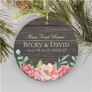 Our First Home Ornament | Rustic Home Ornament With Flowers